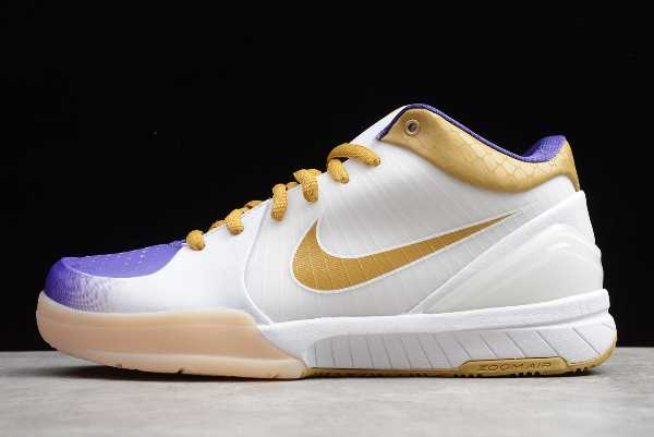 4344335-171 Mens Nike Zoom Kobe 4 ZK4 White/Metallic Gold-Purple For Sale