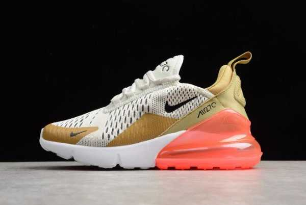 Nike WMNS Air Max 270 Flight Gold/Black-Light Bone-White-Hot Punch Shoes