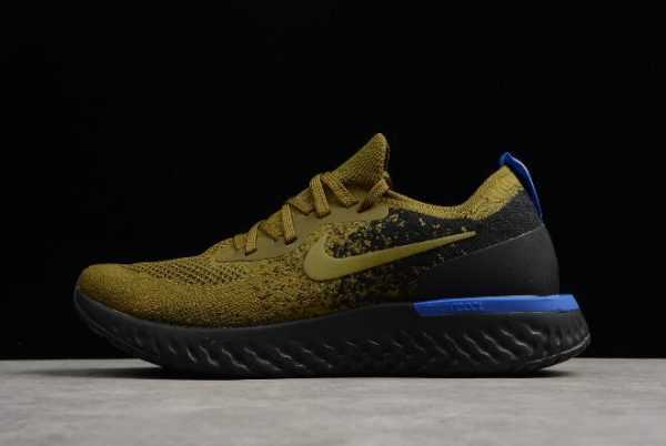 2018 Mens Nike Epic React Flyknit Deep Green Gold/Black-Blue To Buy