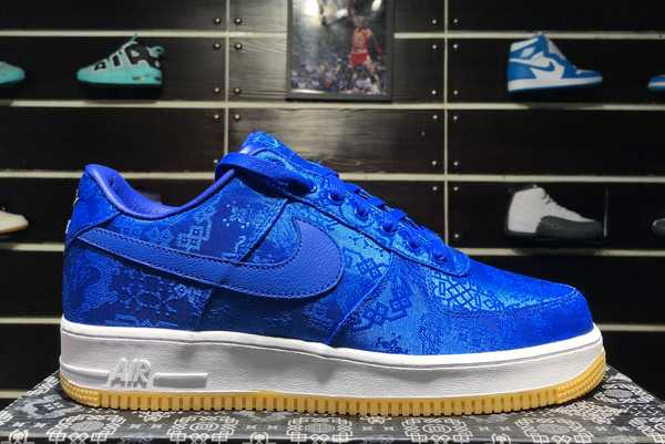 Shop CLOT x Fragment Design x Nike Air Force 1 Blue Silk CJ5290-400