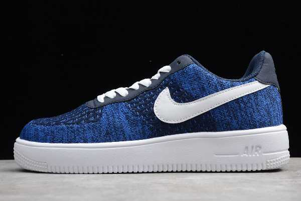 AV3042-400 Mens Nike Air Force 1 Flyknit 2.0 College Navy/White-Obsidian For Sale
