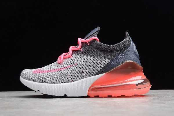 Women's Nike Air Max 270 Flyknit Grey/Pink-White Running Shoes