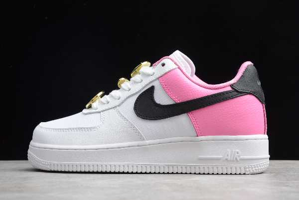 "2020 Wmns Nike Air Force 1 Low SE ""Basketball Pins"" White/Pink-Black AA0287-107 For Sale"