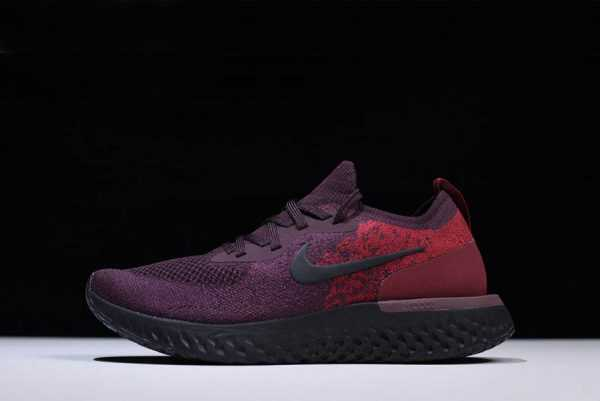 2018 Men's Nike Epic React Flyknit Wine Red/Dark Red-Black Running Shoes