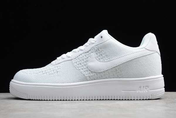 AV3042-100 Mens Nike Air Force 1 Flyknit 2 White Pure Platinum For Sale