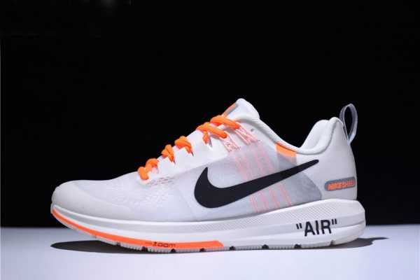 Men's Off-White Virgil Abloh x Nike Air Zoom Structure 21 White/Orange-Black 907324-006