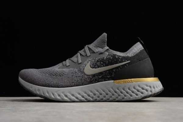 Nike Epic React Flyknit Grey/Black-Gold Running Shoes Free Shipping