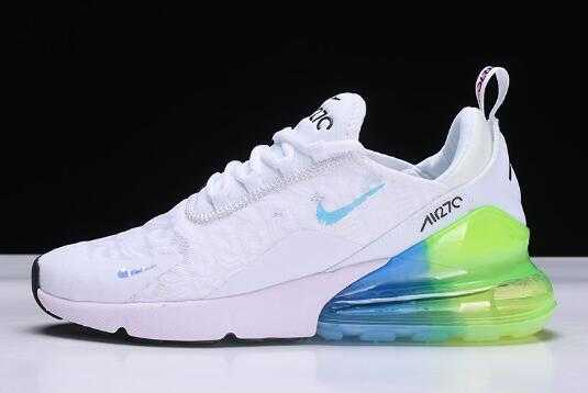 Mens and Womens Nike Air Max 270 White/Blue-Green Shoes Outlet